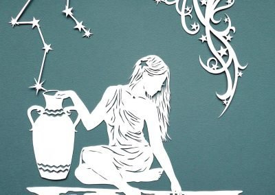Papercut Illustrations for Libelle Magazine - Aquarius