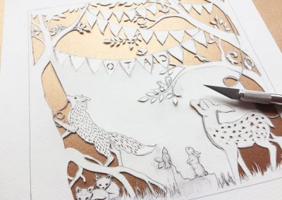 Custom Birth Announcement Cards - Fairytale Forest - Cato - Work in Progress back view