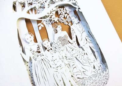 Anniversary Family Wedding - Layered Papercut - Detail Family 5 Side - Whispering Paper