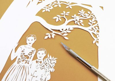 Anniversary Family Wedding - Layered Papercut  - Kids from Side