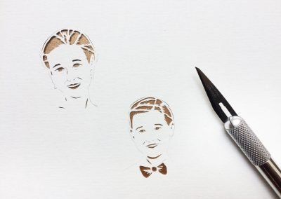Anniversary Family Wedding - Layered Papercut - Work in Progress - Kids Faces