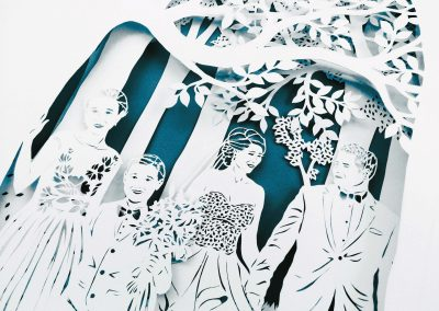 Anniversary Family Wedding - Layered Papercut  - Total from side