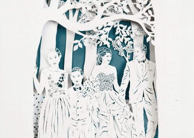 Anniversary Family Wedding - Layered Papercut - Total - Square