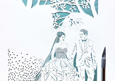 Anniversary Family Wedding - Layered Papercut - Work in Progress - Couple and Branches