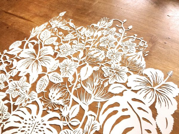 Modulair lasercut - Tropical Flowers - Detail Top - Whispering Paper
