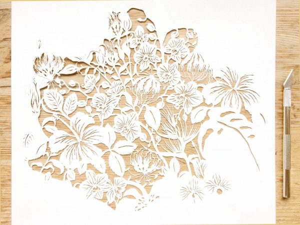 Modulair lasercut - Tropical Flowers - Work in Progress - Whispering Paper