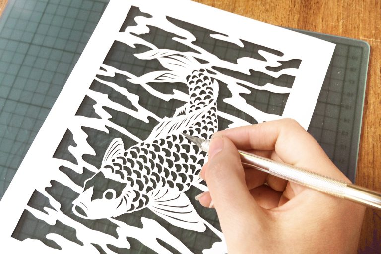 Template Koi - DIY Papercutting - Whispering Paper
